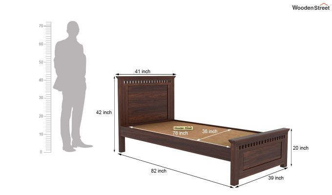 Adolph Single Bed Without Storage (Walnut Finish)-5