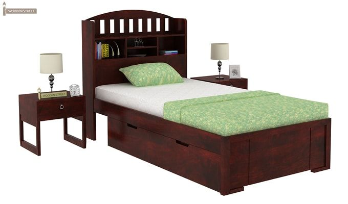 Arista Single Bed With Storage (Mahogany Finish)-1