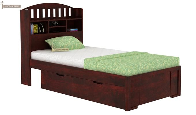 Arista Single Bed With Storage (Mahogany Finish)-2