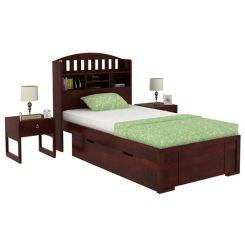 Arista Single Bed With Storage (Mahogany Finish)