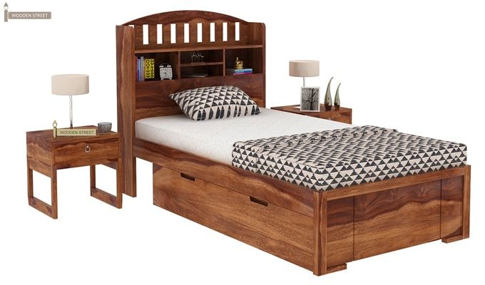 Arista Single Bed With Storage (Teak Finish)-1
