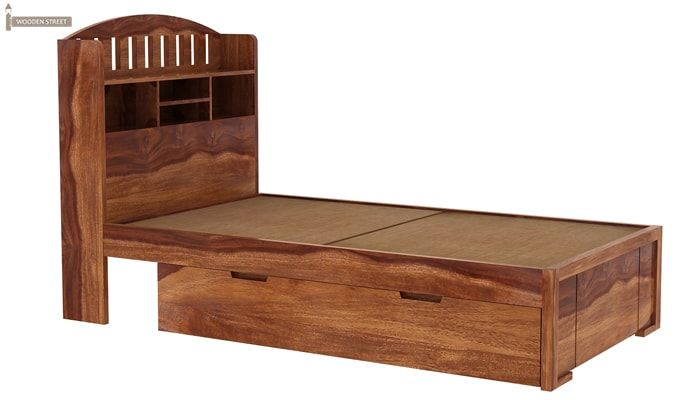 Arista Single Bed With Storage (Teak Finish)-3