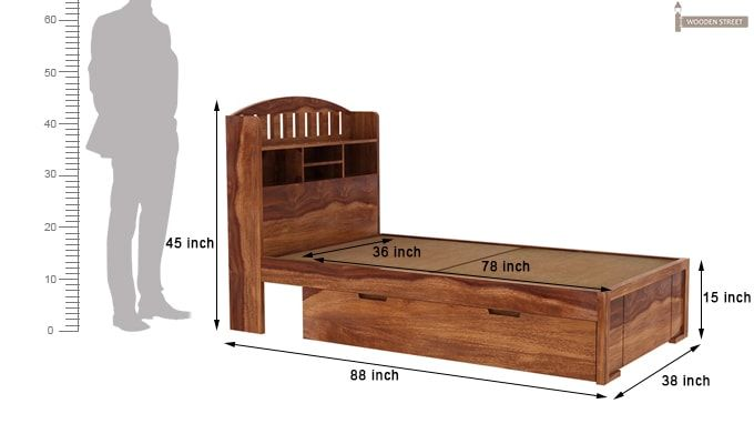 Arista Single Bed With Storage (Teak Finish)-4