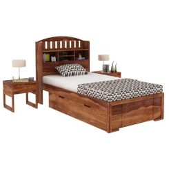 Arista Single Bed With Storage (Teak Finish)