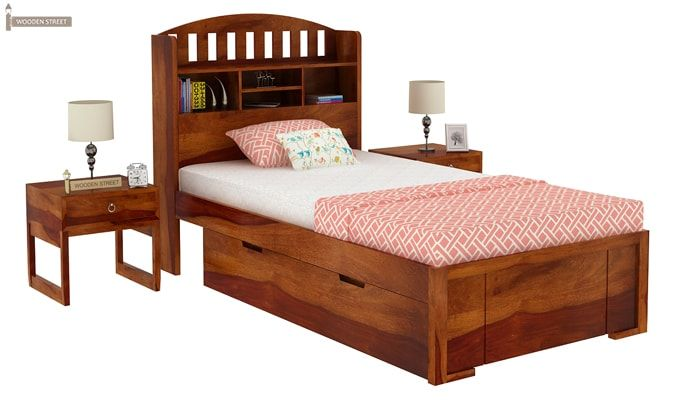 Arista Single Bed With Storage (Honey Finish)-1