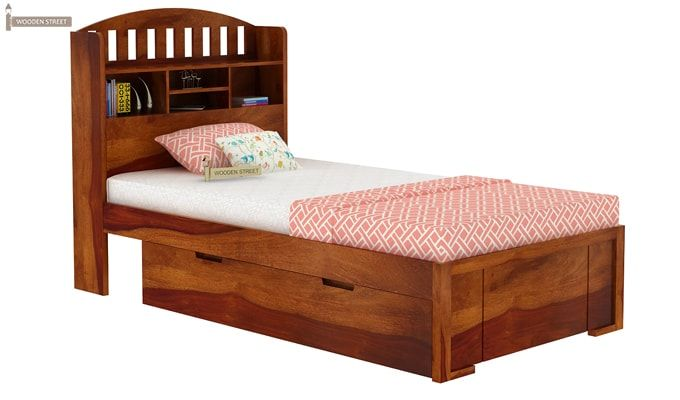 Arista Single Bed With Storage (Honey Finish)-2