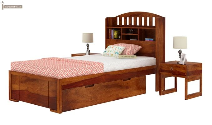 Arista Single Bed With Storage (Honey Finish)-5