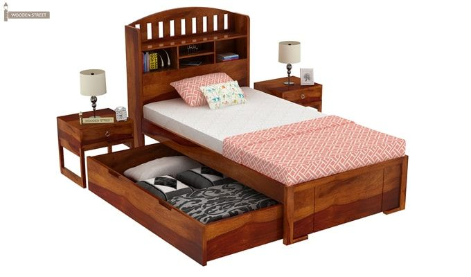 Arista Single Bed With Storage (Honey Finish)-6