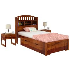 Arista Single Bed With Storage (Honey Finish)