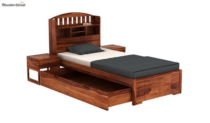 Arista Single Bed With Storage (Honey Finish)-4