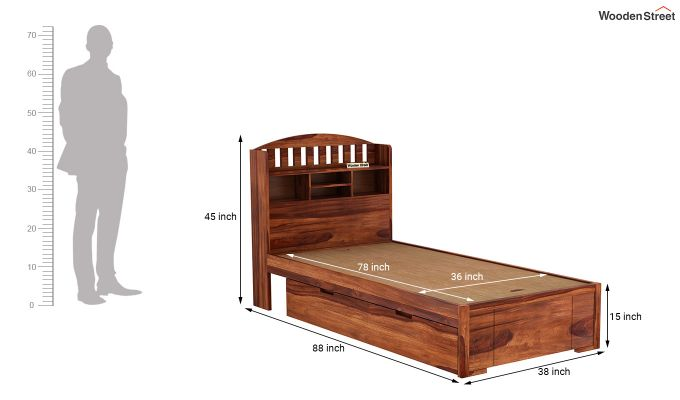 Arista Single Bed With Storage (Honey Finish)-8