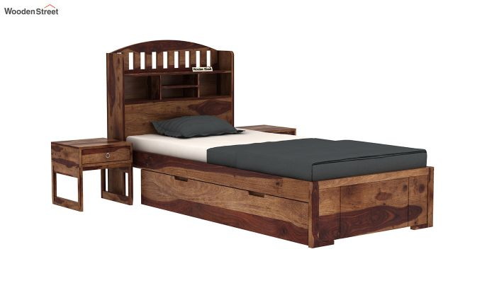 Arista Single Bed With Storage (Teak Finish)-2
