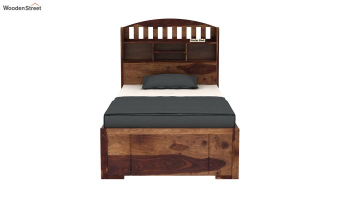 Arista Single Bed With Storage (Teak Finish)-5