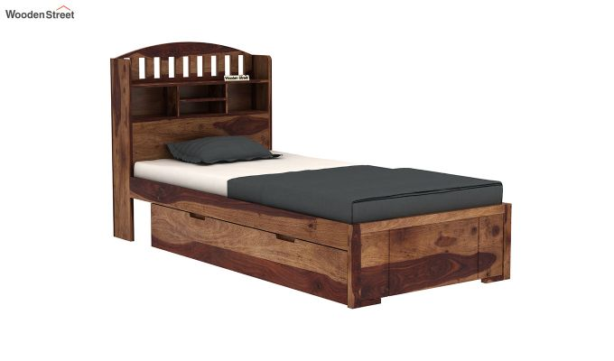 Arista Single Bed With Storage (Teak Finish)-6