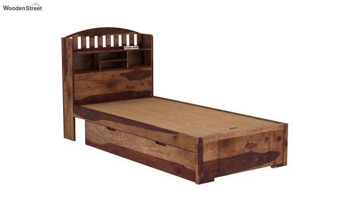 Arista Single Bed With Storage (Teak Finish)-7