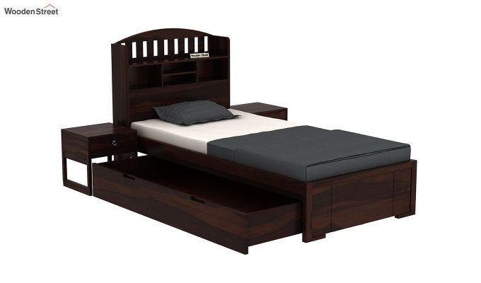Arista Single Bed With Storage (Walnut Finish)-4