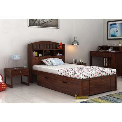 Arista Single Bed With Storage (Walnut Finish)