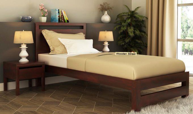 Bacon Single Bed Without Storage (Mahogany Finish)-1