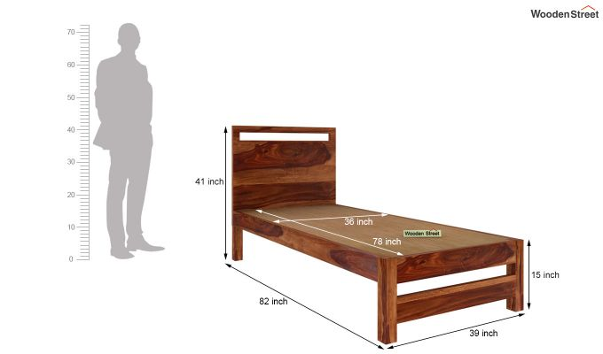 Bacon Single Bed Without Storage (Teak Finish)-5
