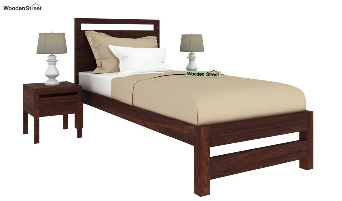 Bacon Single Bed Without Storage (Walnut Finish)-2