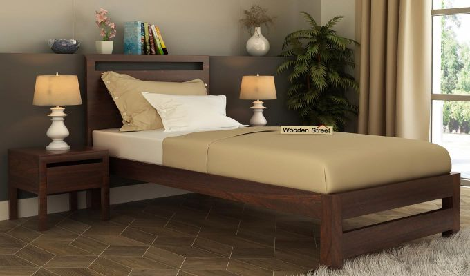 Bacon Single Bed Without Storage (Walnut Finish)-1