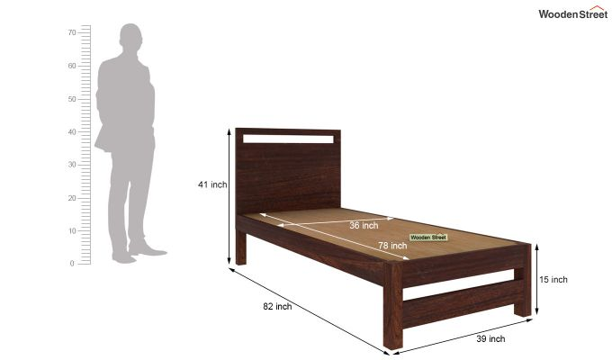 Bacon Single Bed Without Storage (Walnut Finish)-5