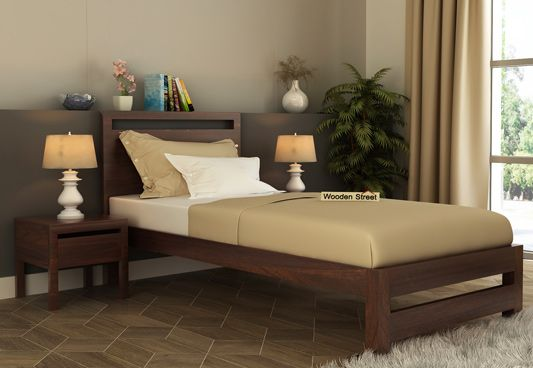 solid wood single bed in walnut finish