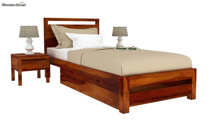 Bacon Single Bed With Storage (Honey Finish)-2