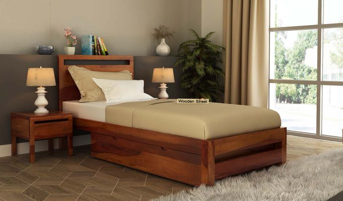 Bacon Single Bed With Storage (Honey Finish)-1