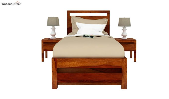 Bacon Single Bed With Storage (Honey Finish)-3