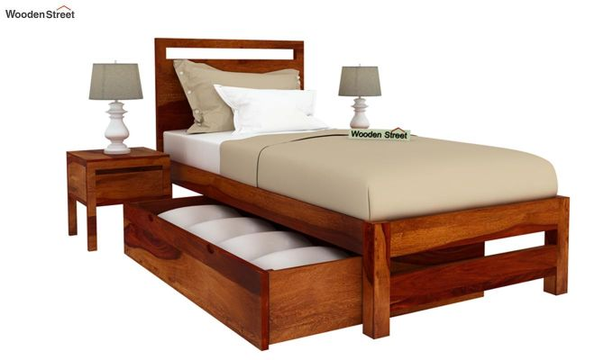 Bacon Single Bed With Storage (Honey Finish)-4