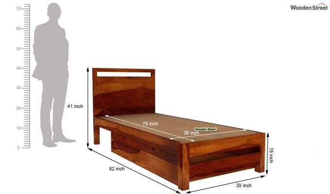 Bacon Single Bed With Storage (Honey Finish)-6