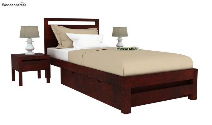 Bacon Single Bed With Storage (Mahogany Finish)-2
