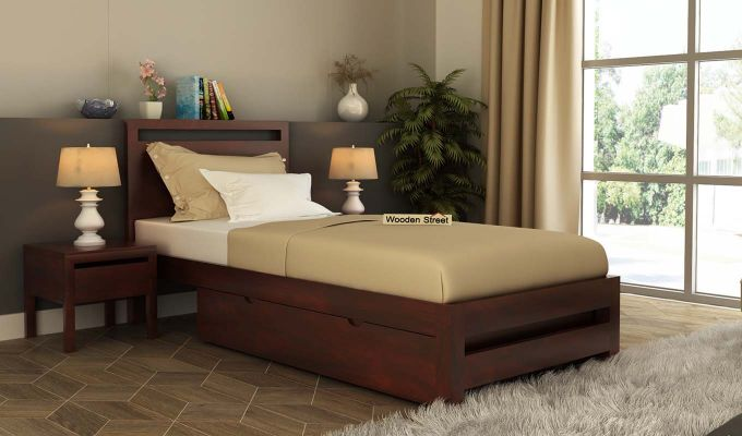 Bacon Single Bed With Storage (Mahogany Finish)-1