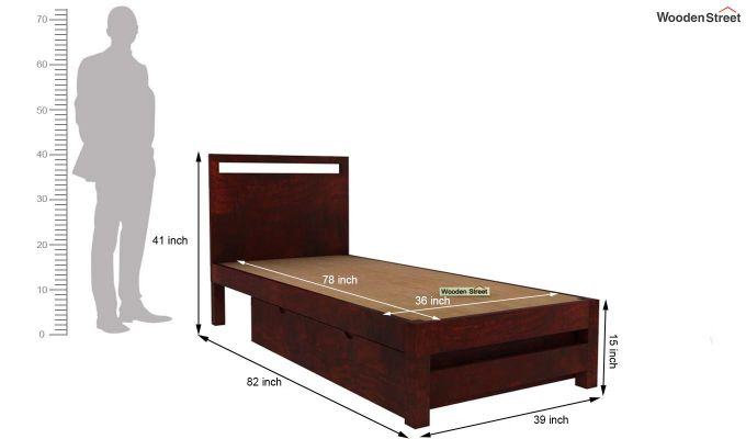 Bacon Single Bed With Storage (Mahogany Finish)-6