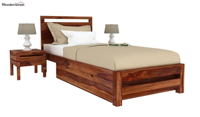 Bacon Single Bed With Storage (Teak Finish)-2