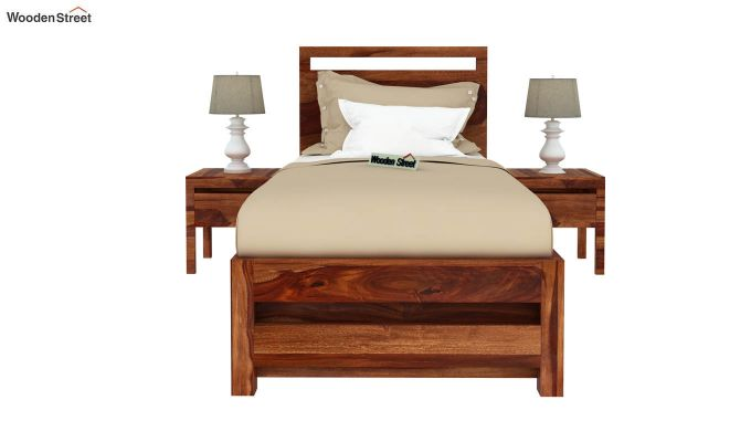 Bacon Single Bed With Storage (Teak Finish)-3