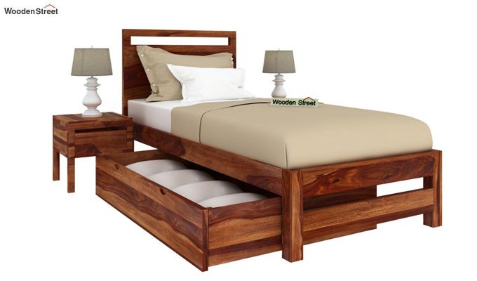 Bacon Single Bed With Storage (Teak Finish)-4