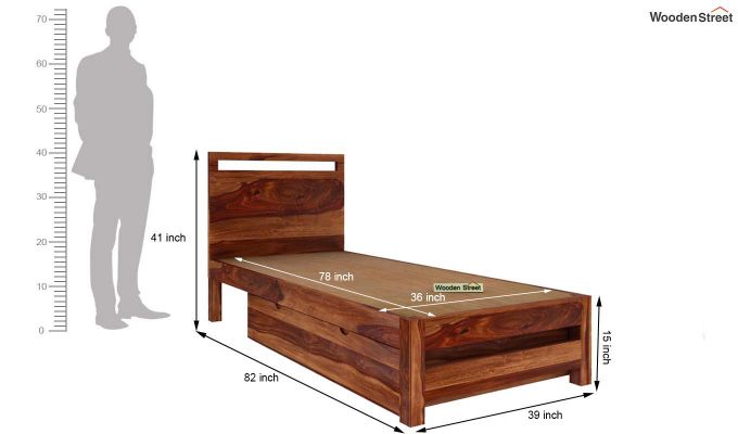 Bacon Single Bed With Storage (Teak Finish)-6