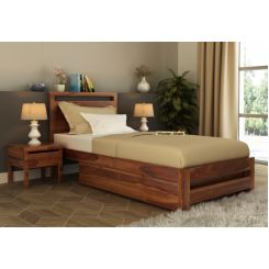 Bacon Single Bed With Storage (Teak Finish)