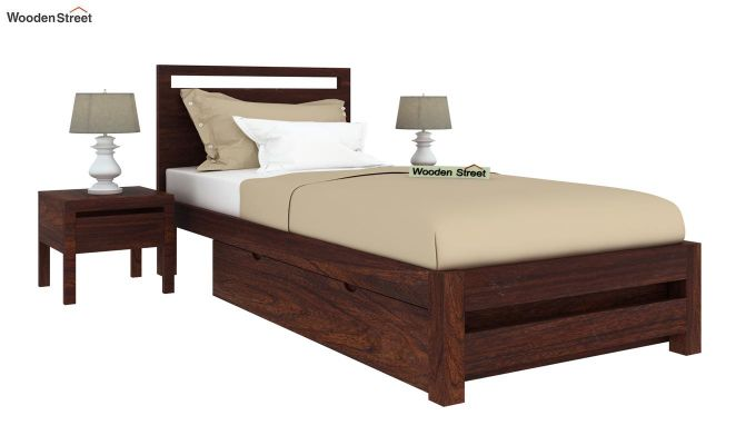 Bacon Single Bed With Storage (Walnut Finish)-2