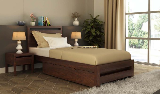 Bacon Single Bed With Storage (Walnut Finish)-1