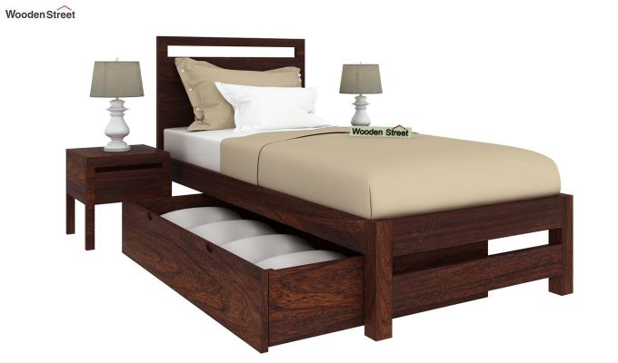 Bacon Single Bed With Storage (Walnut Finish)-4