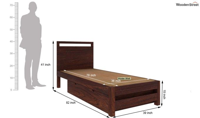 Bacon Single Bed With Storage (Walnut Finish)-6