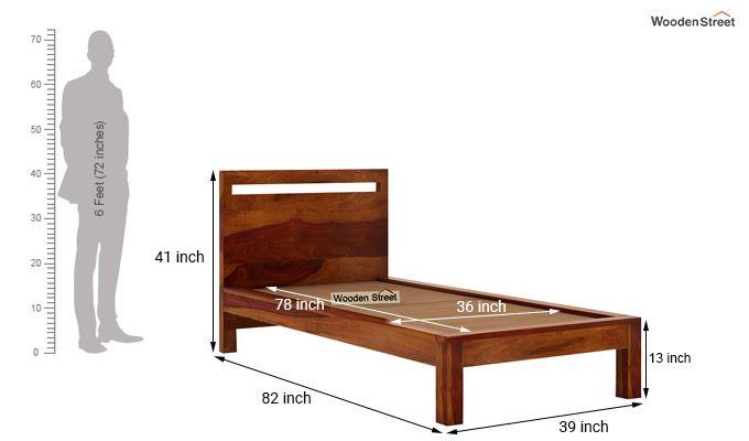 Bacon Single Bed Without Storage (Honey Finish)-6