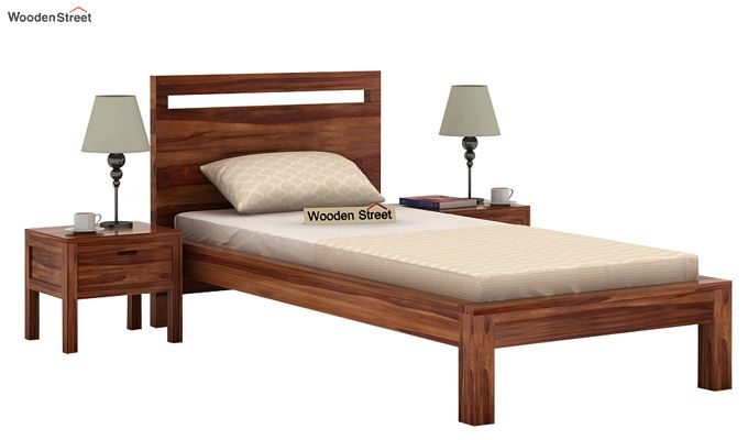Bacon Single Bed Without Storage (Teak Finish)-1