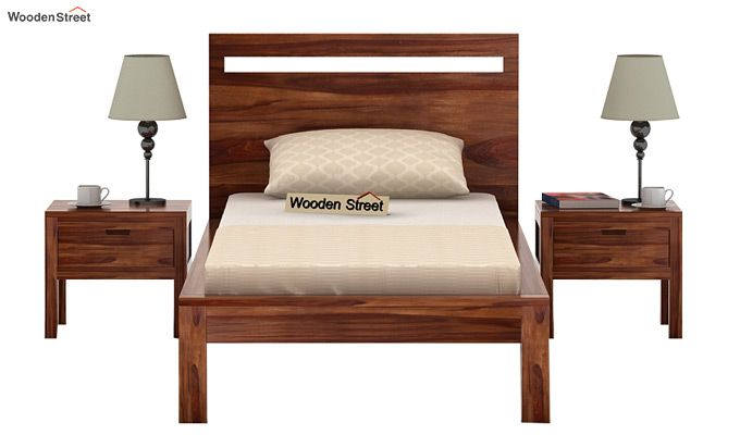 Bacon Single Bed Without Storage (Teak Finish)-2
