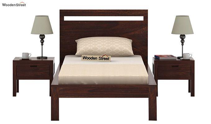 Bacon Single Bed Without Storage (Walnut Finish)-3