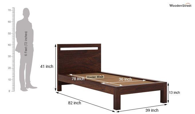 Bacon Single Bed Without Storage (Walnut Finish)-7
