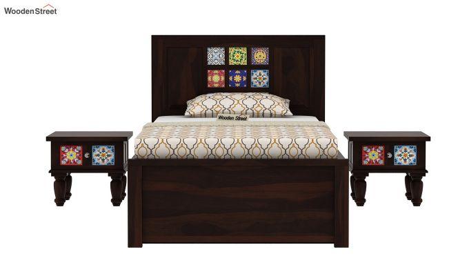 Boho Single Bed With Storage (Walnut Finish)-3